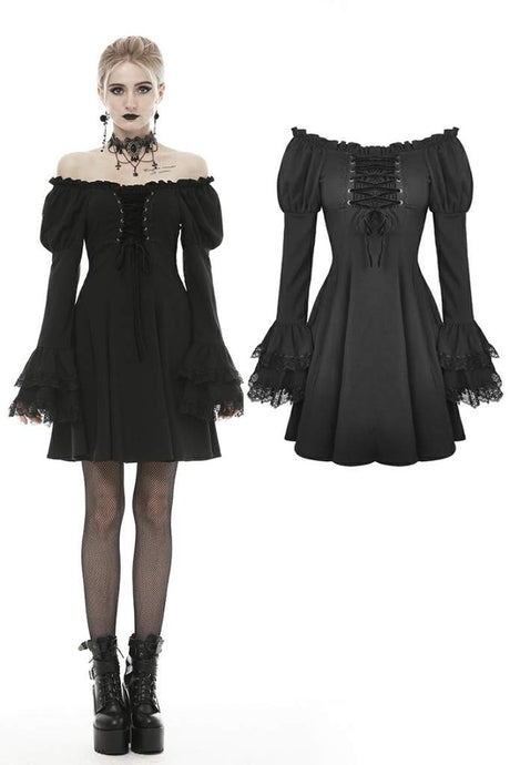 Dark In Love Gothic Doll Bardot Dress - Kate's Clothing