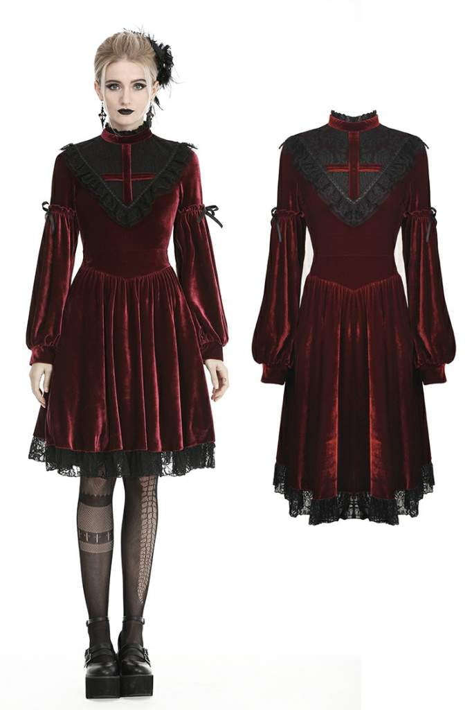 Dark In Love Scarlett Cross Velvet Dress - Kate's Clothing