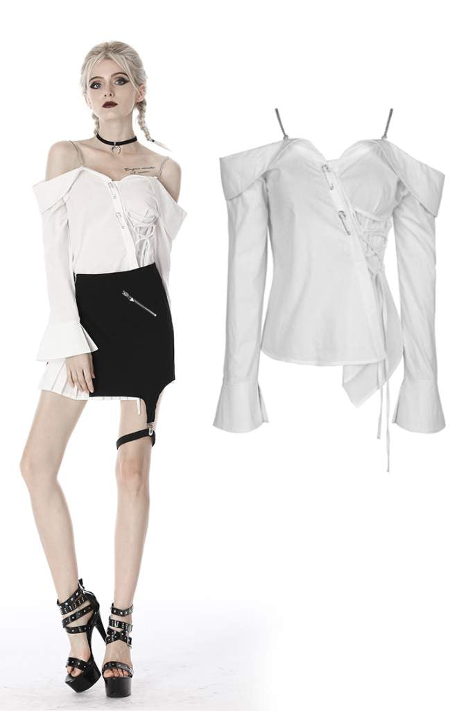Dark In Love Chain Strap Blouse - Kate's Clothing