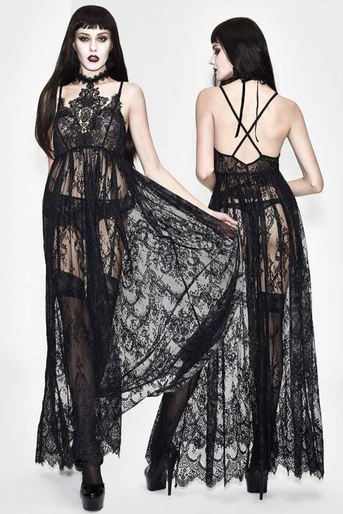 Eva Lady Gothic Sheer Lace Maxi Dress - Kate's Clothing