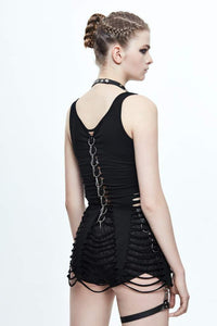Devil Fashion Slashed & Spiked Vest Top - Kate's Clothing
