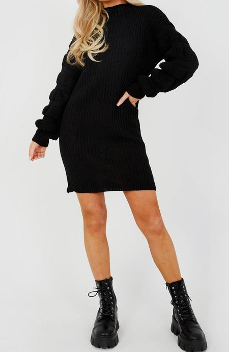 Gothic Attitude Bubble Sleeve Knitted Dress - Kate's Clothing