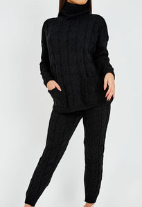 Gothic Attitude Cable Knit Top & Trouser Set - Kate's Clothing