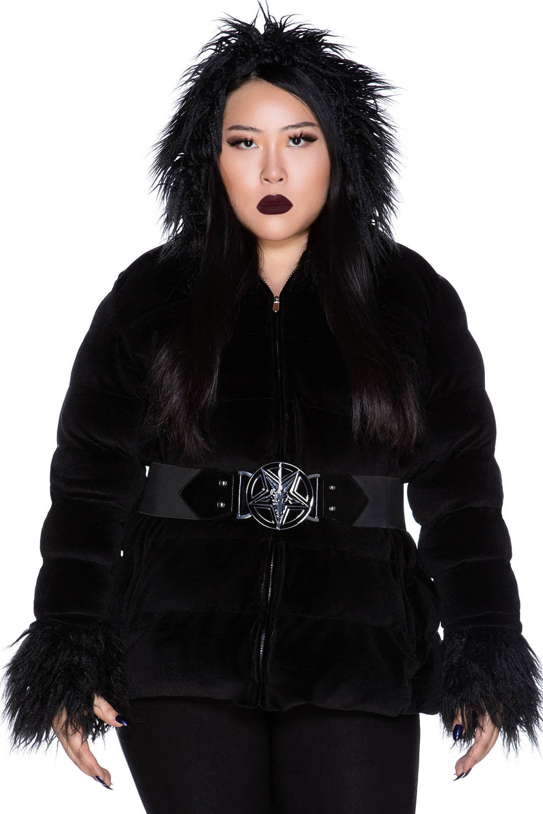 Killstar Gates Of Hell Hooded Coat Plus Size - Kate's Clothing