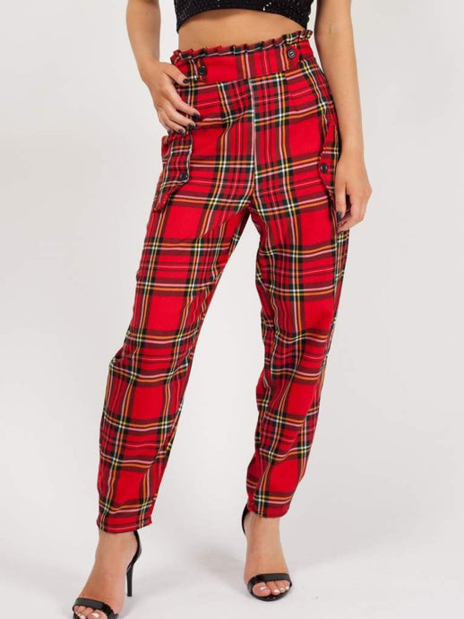 Gothic Attitude Paper Bag Waist Trousers - Red - Kate's Clothing
