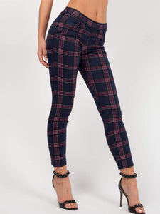 Gothic Attitude Tartan Check Trousers - Purple - Kate's Clothing