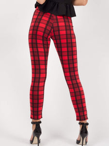 Gothic Attitude Tartan Check Trousers - Red - Kate's Clothing