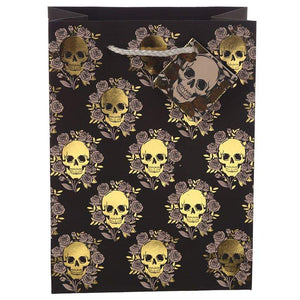 Gothic Gifts Skulls & Roses Medium Gift Bag - Kate's Clothing