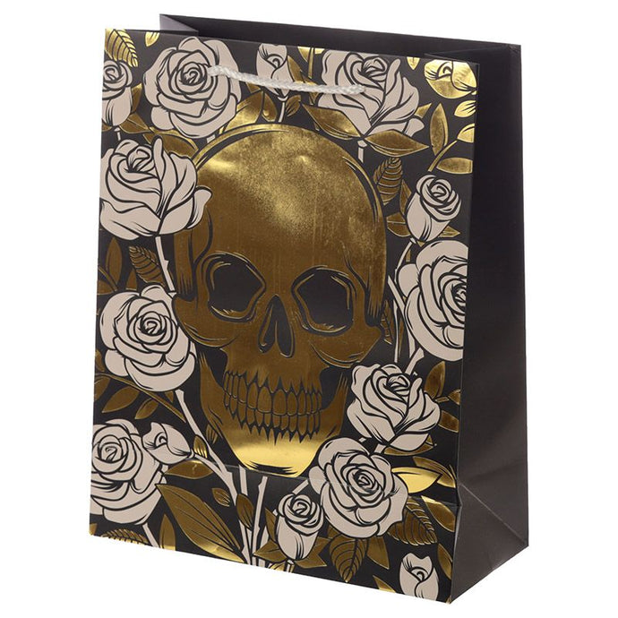Gothic Gifts Large Skull & Roses Gift Bag - Kate's Clothing