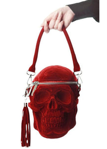 Killstar Grave Digger Blood Red Velvet Handbag - Kate's Clothing