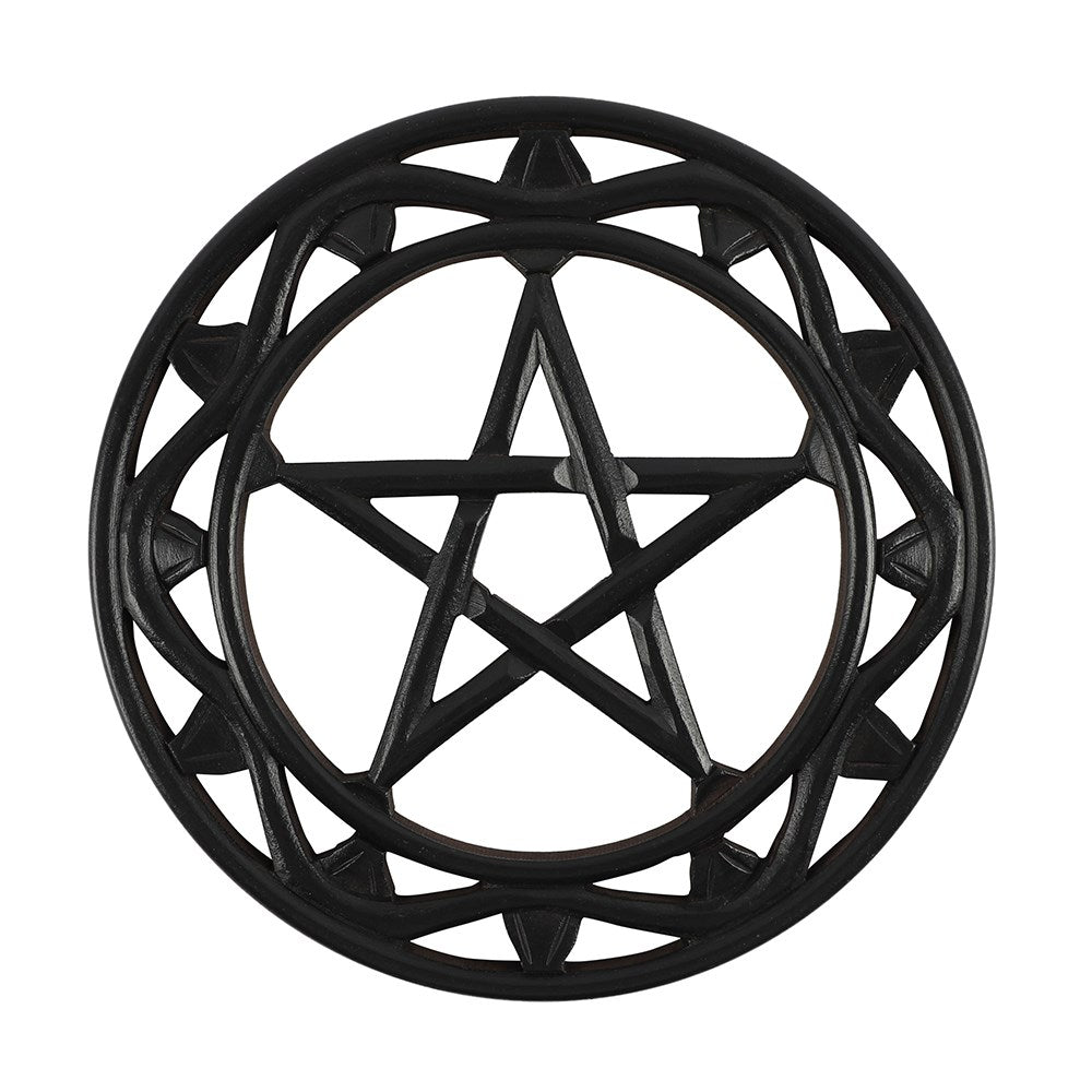 Gothic Gifts Black Wooden Pentagram Wall Art