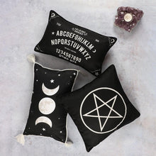 Load image into Gallery viewer, Gothic Gifts Black and White Pentagram Cushion - Kate's Clothing