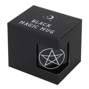 Gothic Gifts Black Mug with a White Pentagram - Kate's Clothing