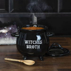 Gothic Gifts Witches Broth Cauldron Soup Bowl with Broom Spoon - Kate's Clothing