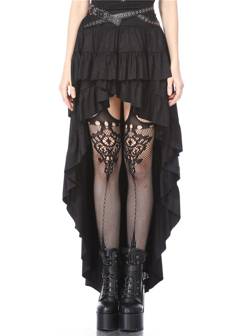 Dark In Love Faux Suede High-Low Skirt