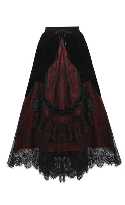 Dark In Love Arabella Red Maxi Skirt - Kate's Clothing