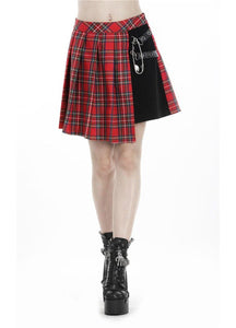 Dark In Love Leah Red Tartan Mini Skirt - Kate's Clothing