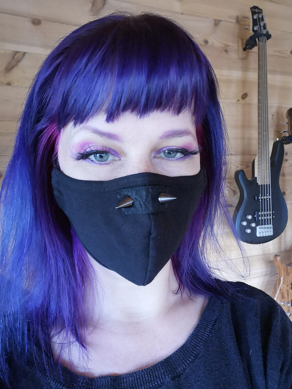 Punk Rave Goth Face Covering with Spikes - Kate's Clothing