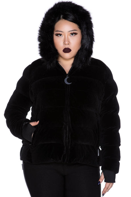 Killstar Lisa Luna Velvet Jacket Black Plus Size - Kate's Clothing
