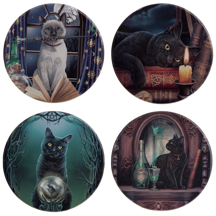 Gothic Gifts Magical Cats Set Of 4 Coasters - Kate's Clothing