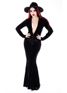 Necessary Evil Plunge Velvet Diana Dress - Kate's Clothing