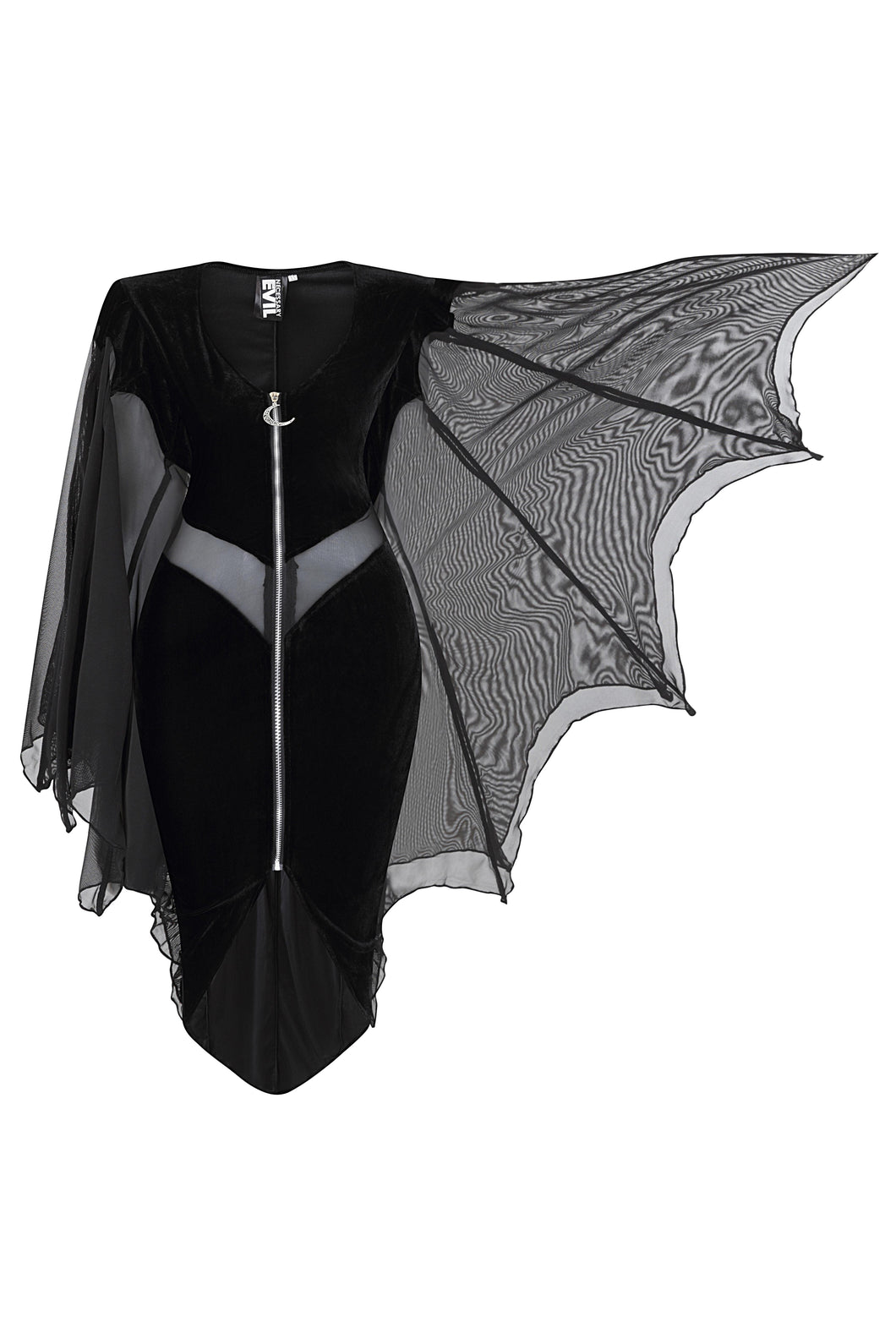 Necessary Evil Selene Velvet Dress with Bat Wing Effect - Kate's Clothing