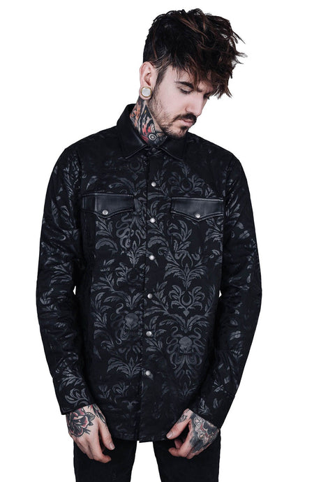 Killstar Cthulhu Dark Ocean Button-Up Mens Shirt - Kate's Clothing