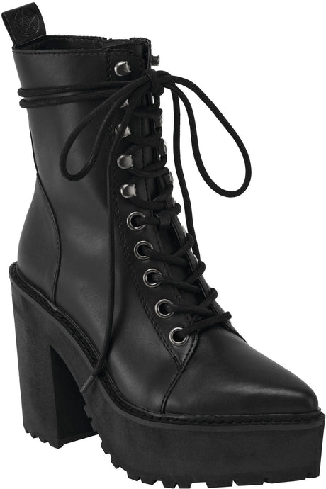 Killstar Salem City Faux Leather Silver Eyelet Boots - Kate's Clothing