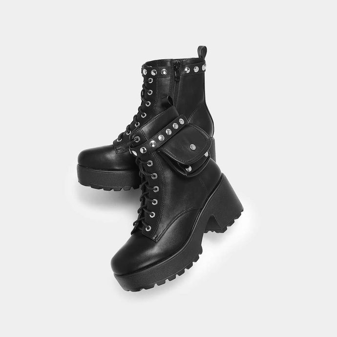 Koi Aldor Chunky Black Pocket Boot - Kate's Clothing