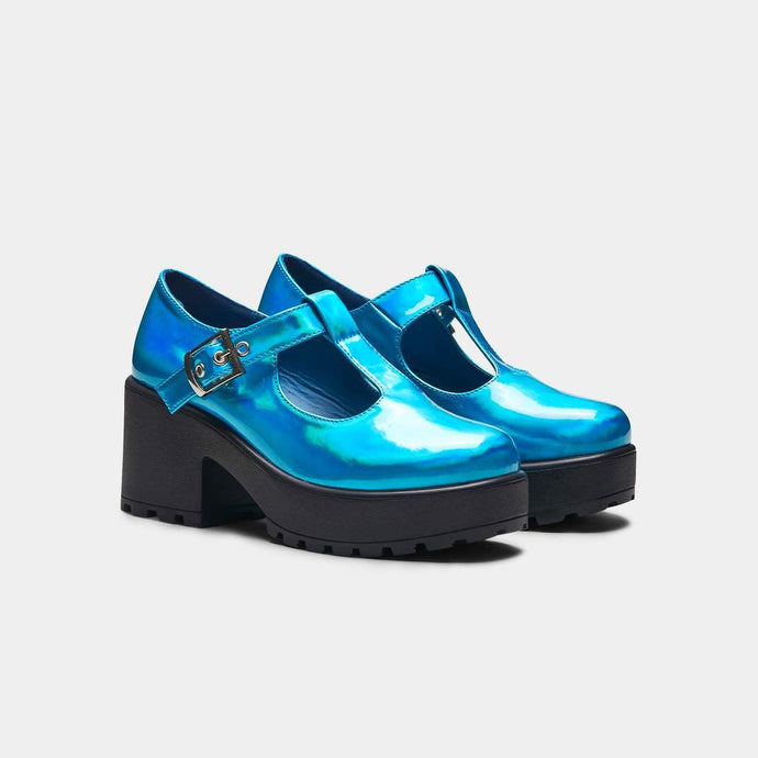 Koi Sai Blue Metallic Mary Janes - Kate's Clothing