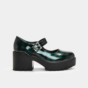 Koi Cher Green Checkered Mary Janes - Kate's Clothing