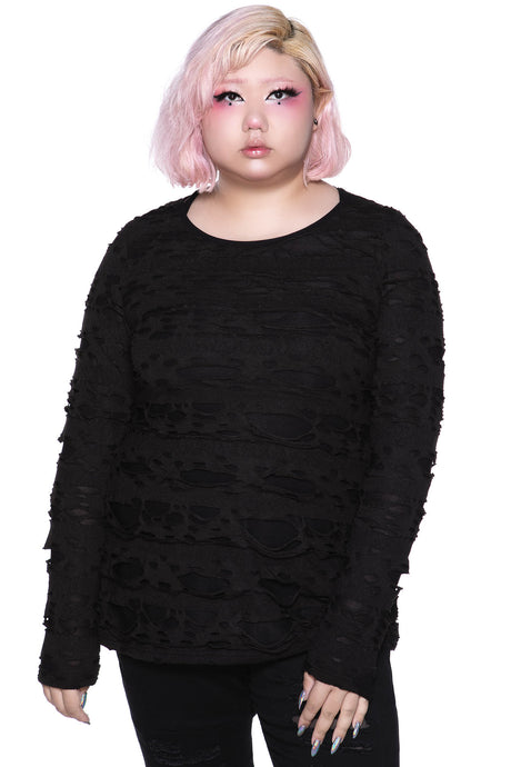Killstar Night Shadow Long Sleeve Top Plus Size - Kate's Clothing