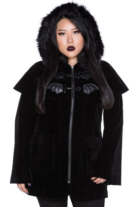 Killstar Nightfever Duffle Coat Plus Size - Kate's Clothing