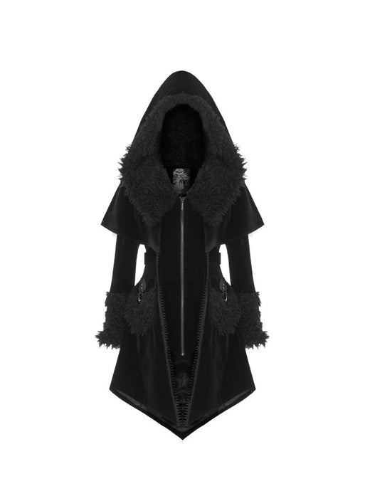 Punk Rave Plus Size Amira Velvet Hooded Coat - Kate's Clothing