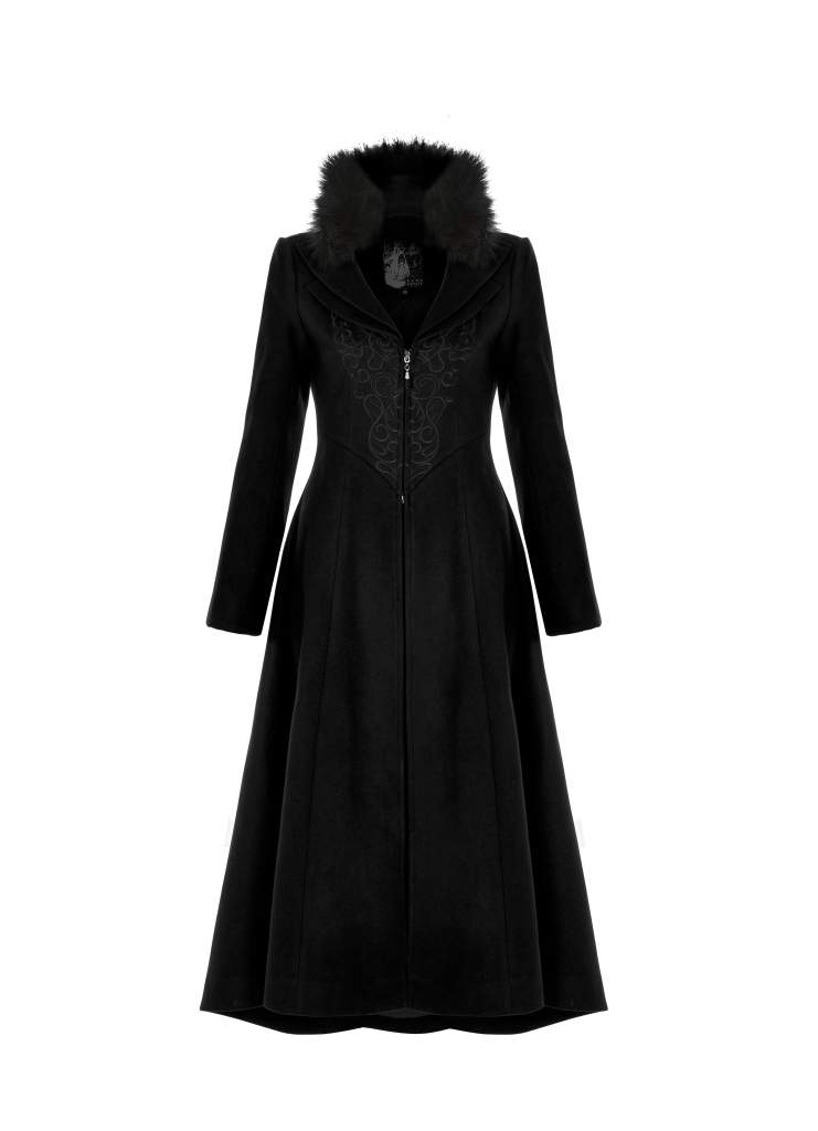 Punk Rave Plus Size Bellatrix Embroidered Coat - Black - Kate's Clothing