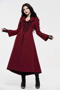Punk Rave Bellatrix Embroidered Coat - Red - Kate's Clothing