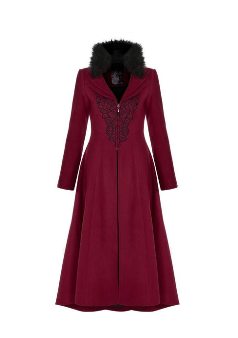 Punk Rave Plus Size Bellatrix Embroidered Coat - Red - Kate's Clothing