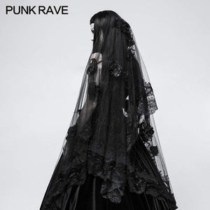 Punk Rave Black Rose Veil - Kate's Clothing