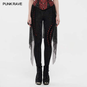 Punk Rave Flames Leggings - Black & Red - Kate's Clothing