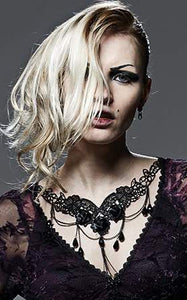 Punk Rave Gothic Rose Embroidered Lace Necklace - Kate's Clothing