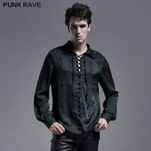 Load image into Gallery viewer, Punk Rave Kane Satin Jacquard Shirt - Green - Kate's Clothing