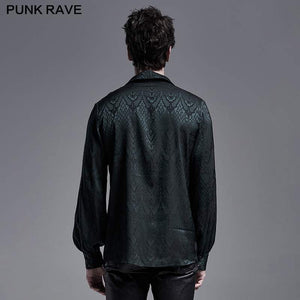 Punk Rave Kane Satin Jacquard Shirt - Green - Kate's Clothing