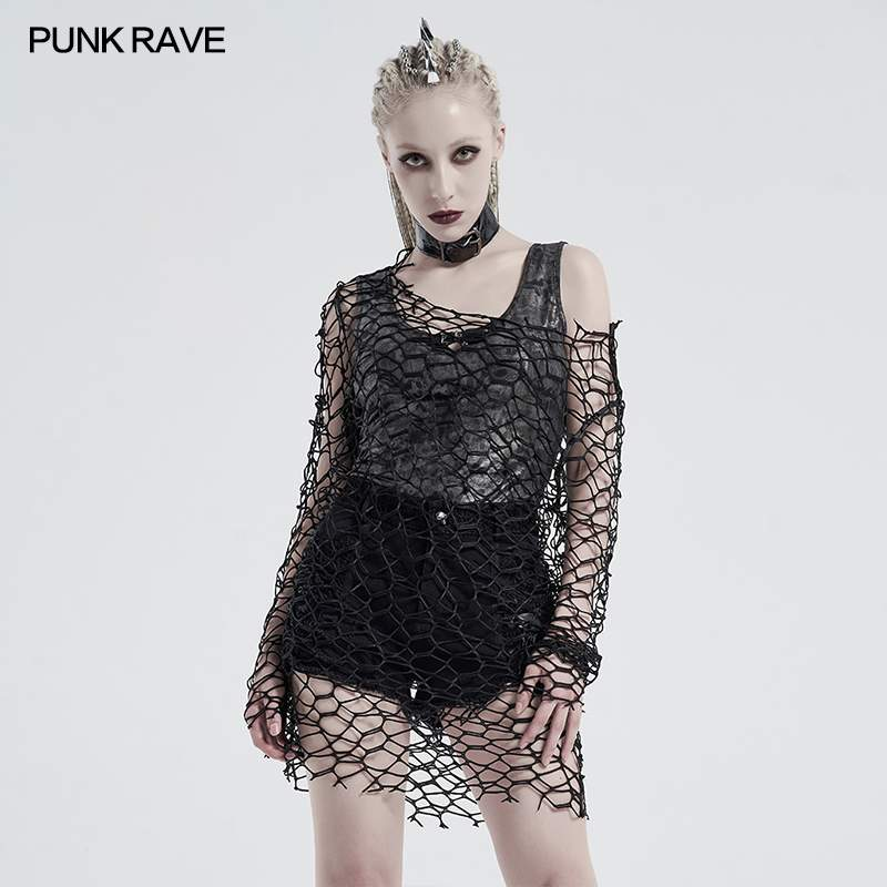 Punk Rave Lattice Top - Black - Kate's Clothing