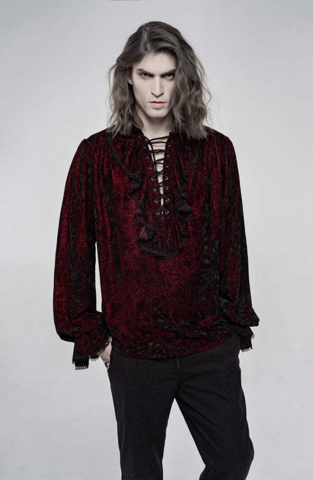 Punk Rave Mens Crushed Velvet Top - Red - Kate's Clothing