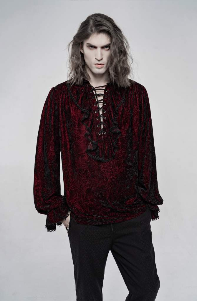 Punk Rave Mens Crushed Velvet Top - Red