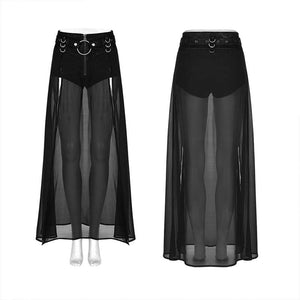 Punk Rave Plus Size Chiffon Maxi Skirt With Integral Shorts - Kate's Clothing