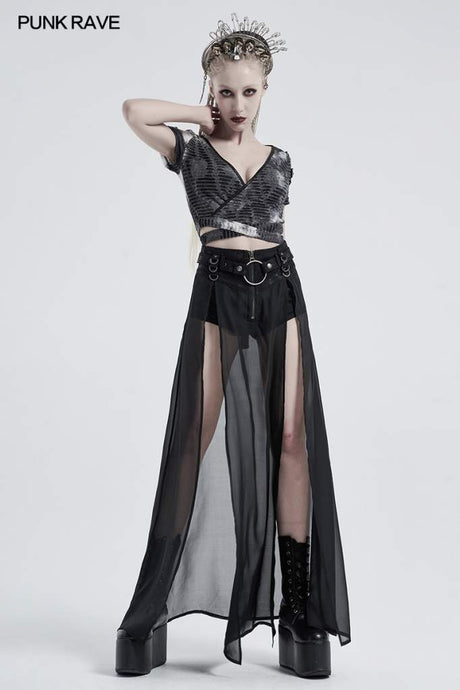 Punk Rave Chiffon Maxi Skirt With Integral Shorts - Kate's Clothing