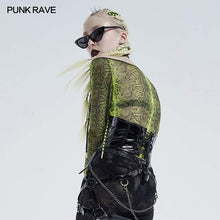 Load image into Gallery viewer, Punk Rave Mesh Bardot Top - Snakeskin - Kate's Clothing