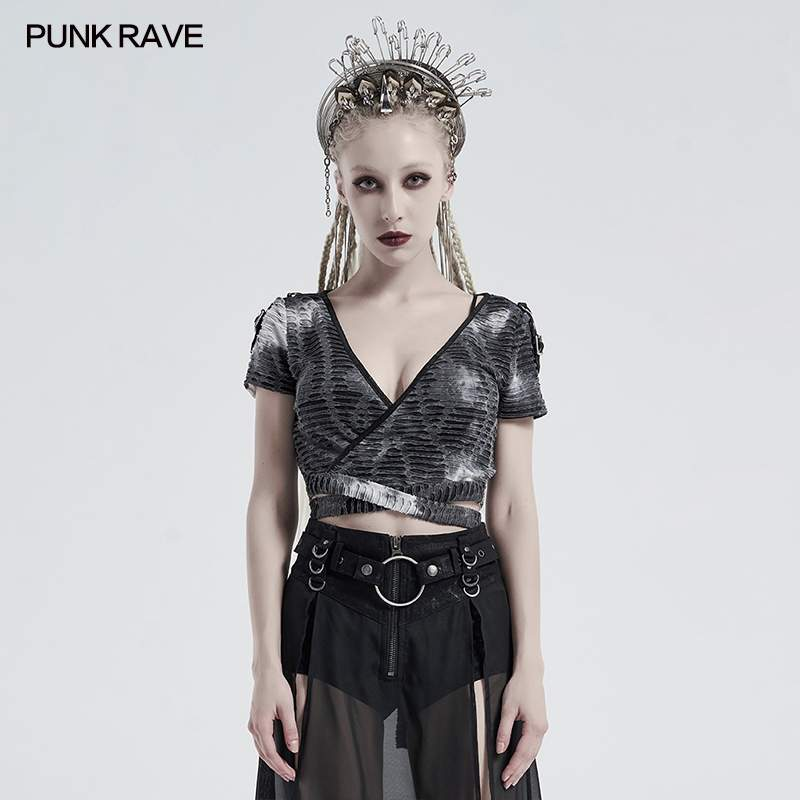 Punk Rave Ophidia Cropped T-Shirt - Grey - Kate's Clothing