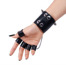 Load image into Gallery viewer, Punk Rave Skull Wrist Cuff With Finger Cuffs - Kate's Clothing
